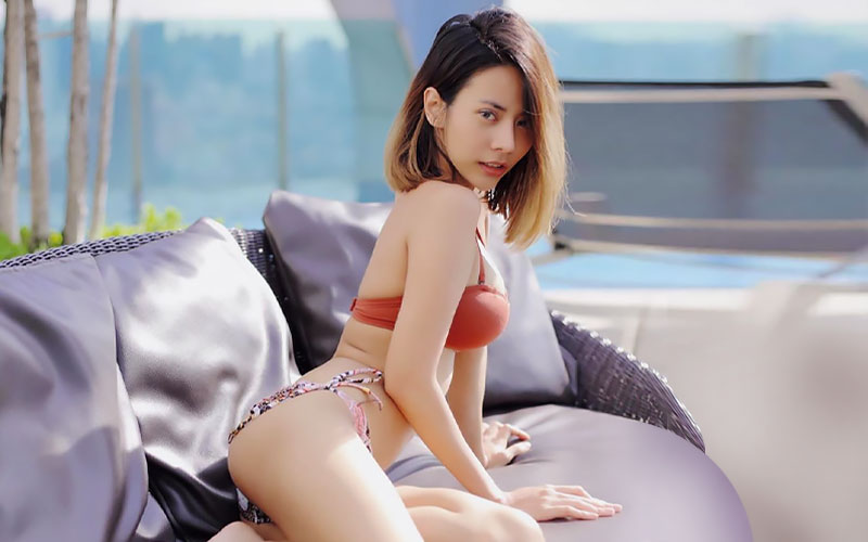 pretty japanese woman on couch