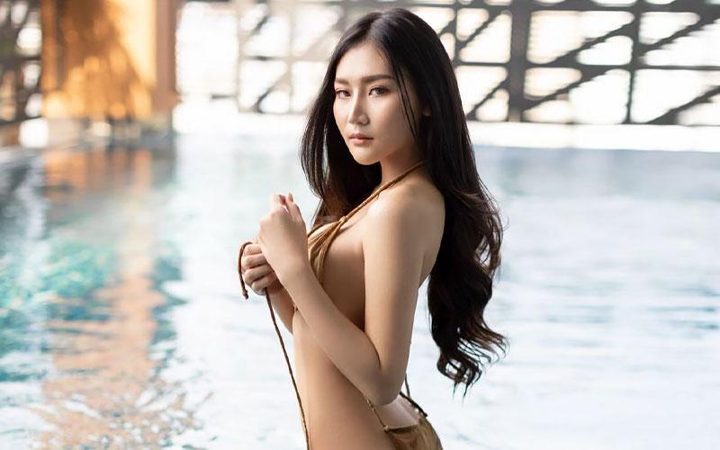 pretty thai bride in bikini